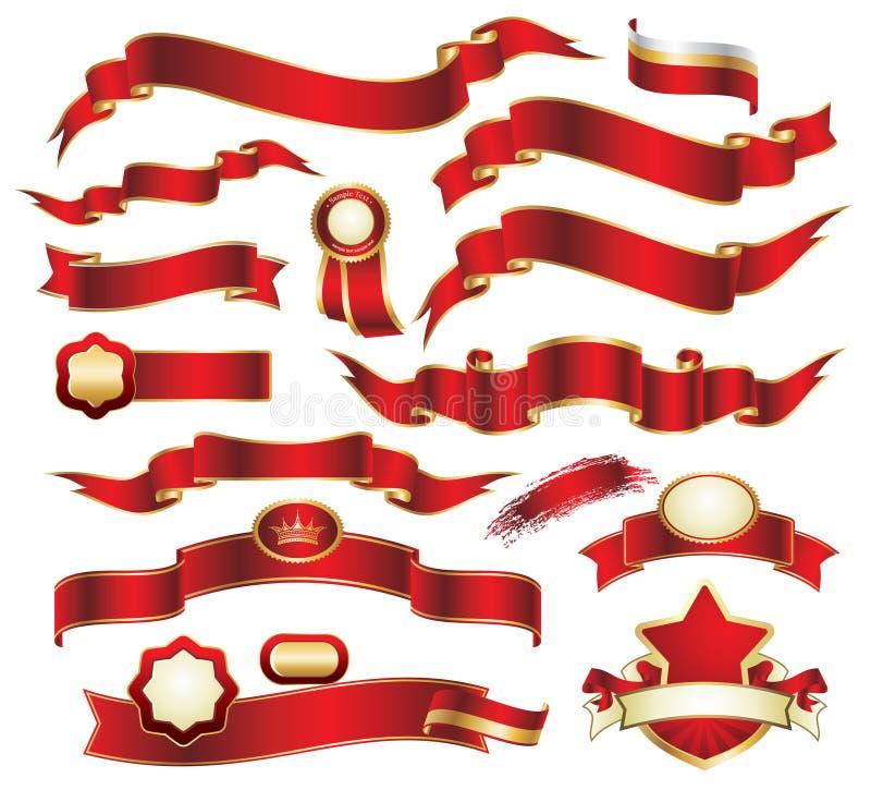 Colección de cintas rojas stock de ilustración