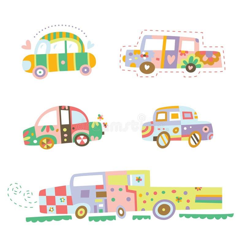 Colección de coches lindos stock de ilustración