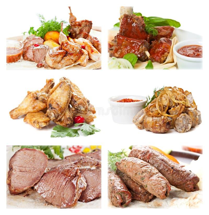 Colección de comida de la carne en un fondo blanco imagen de archivo