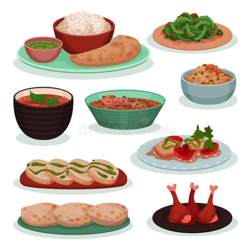 Colección de comida india deliciosa, thali, habas verdes en la tortilla del trigo, tandoori, ejemplo del vector del roti en un bl stock de ilustración