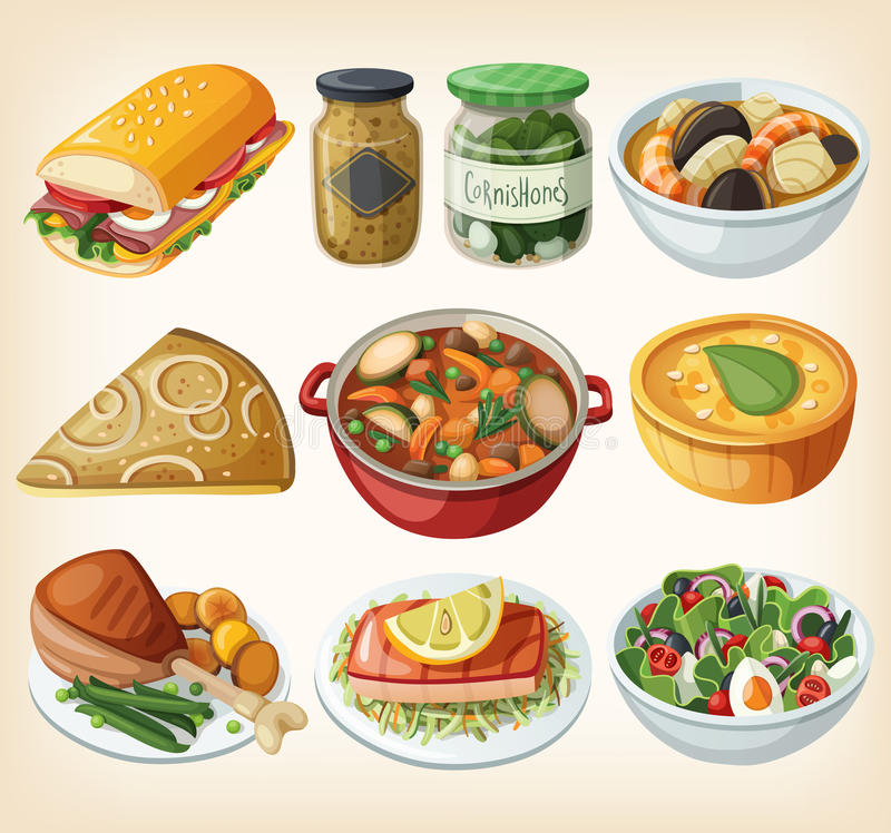 Colección de comidas francesas tradicionales de la cena ilustración del vector