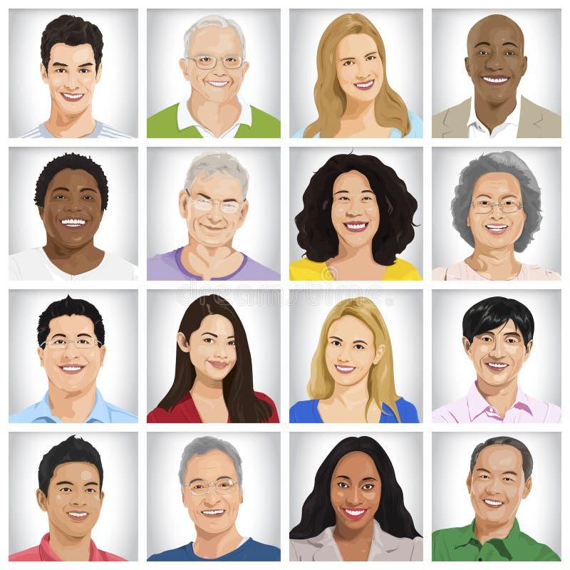 Colección de concepto Multi-étnico de la gente ilustración del vector