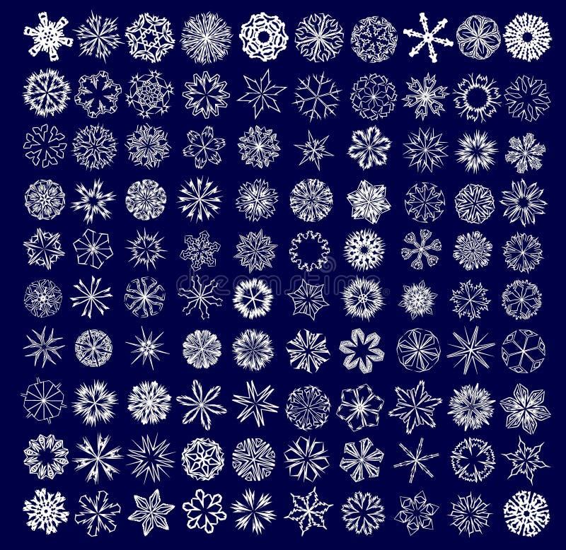 Colección de copos de nieve foto de archivo