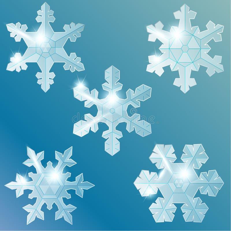 Colección de copos de nieve de cristal transparentes stock de ilustración
