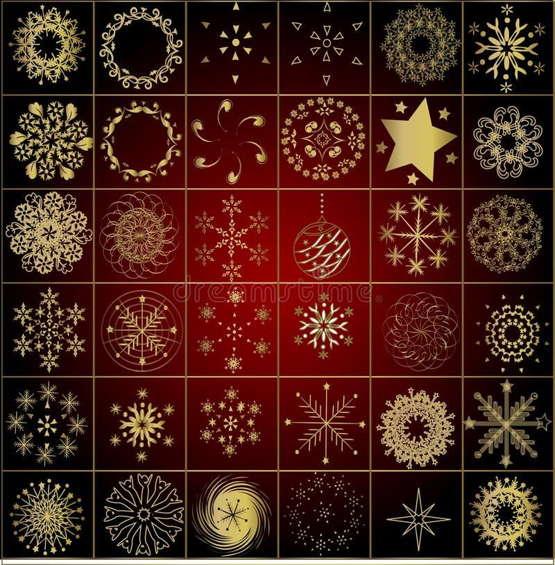 Colección de copos de nieve del invierno del oro stock de ilustración