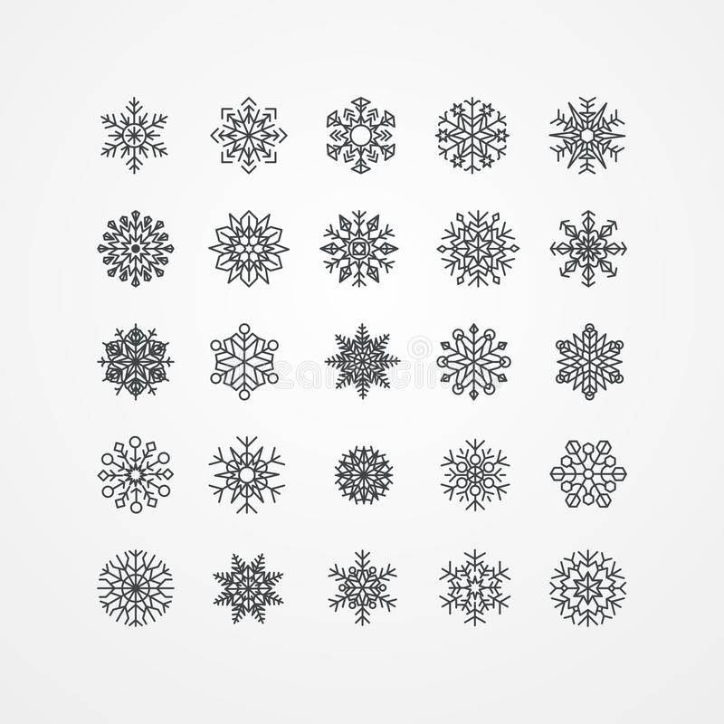 Colección de copos de nieve negros en un fondo blanco libre illustration