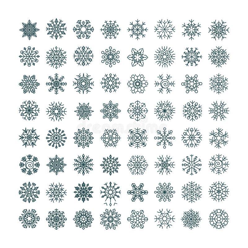 Colección de copos de nieve negros en un fondo blanco ilustración del vector