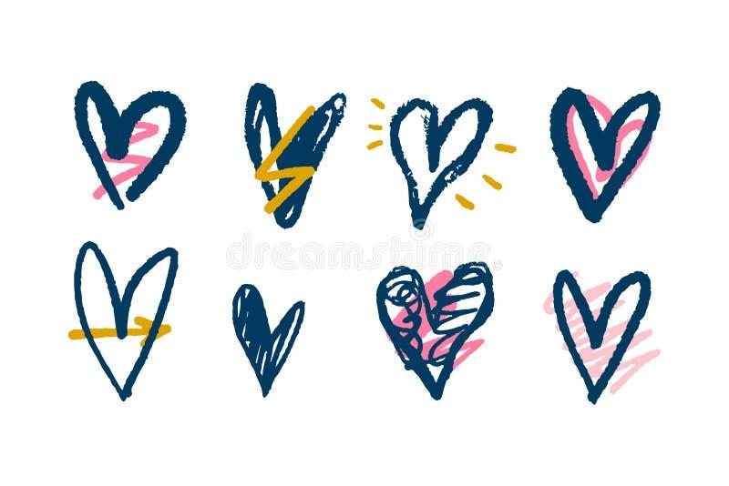 Colección de corazones del cepillo, ejemplos del vector Pluma de la mano y pintura exhaustas de la tinta libre illustration