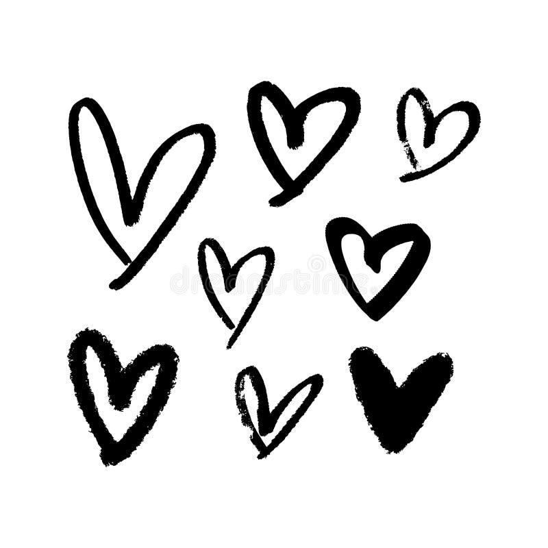 Colección de corazones negros del cepillo, ejemplos del vector Pluma de la mano y pintura exhaustas de la tinta libre illustration