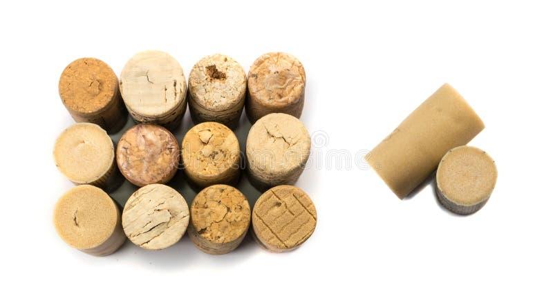 Colección de corchos usados del vino foto de archivo