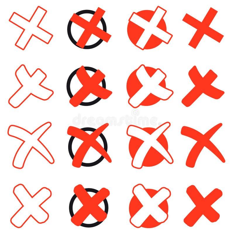 Colección de Cruces Rojas ilustración del vector
