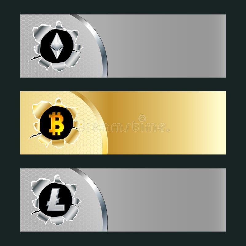 Colección de Cryptocurrency ilustración del vector