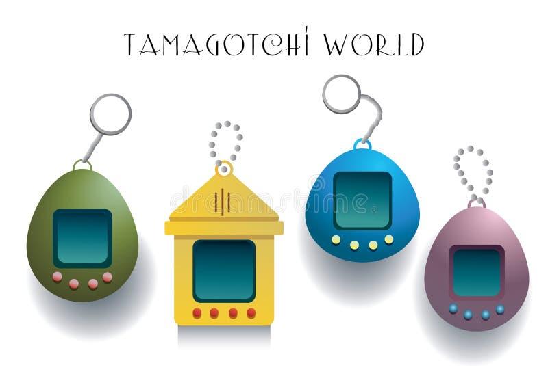 Colección de cuatro diversos juegos del tamagotchi en fondo negro stock de ilustración