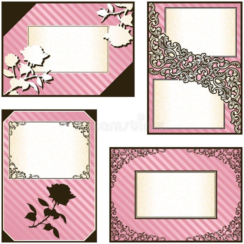 Colección de cuatro escrituras de la etiqueta elegantes del color de rosa libre illustration