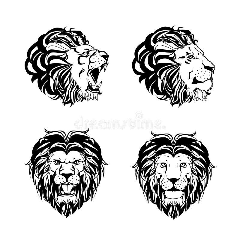 Colección de cuatro grabados con Lion Head ilustración del vector