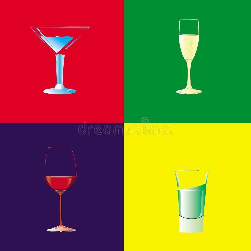 Colección de cuatro vidrios para diversas bebidas libre illustration