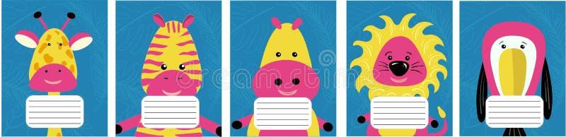 Colección de cubiertas para los cuadernos de la escuela ilustración del vector