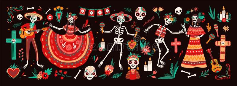 Colección de día tradicional de los símbolos muertos - esqueletos vestidos en los trajes mexicanos populares que tocan la guitarr ilustración del vector