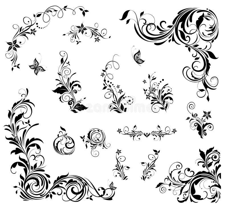 Colección de decoración floral hermosa del vintage para casarse el diseño, títulos del libro, tarjeta de felicitación, invitacion ilustración del vector