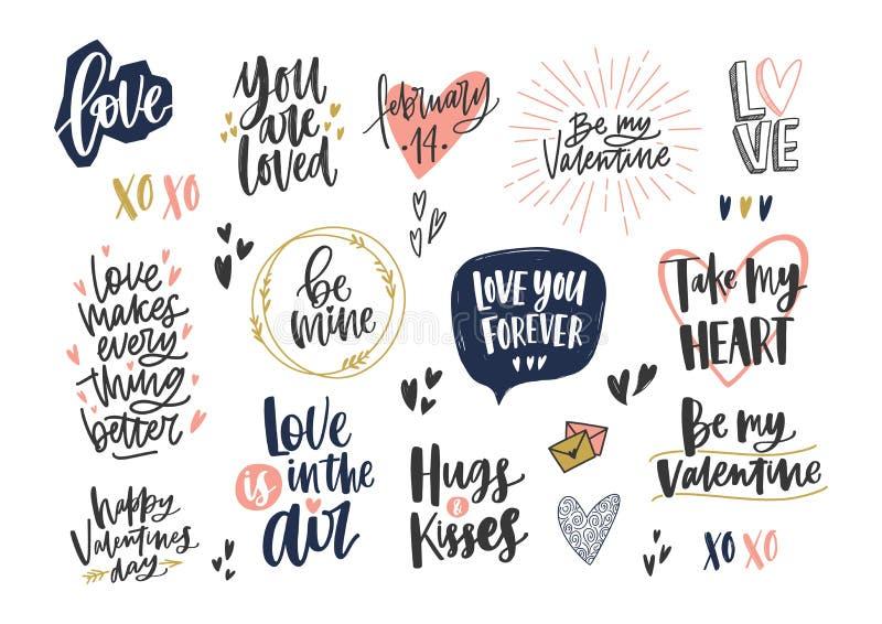 Colección de deletreado elegante del día de la tarjeta del día de San Valentín s con diversos frases, citas y deseos del día de f stock de ilustración