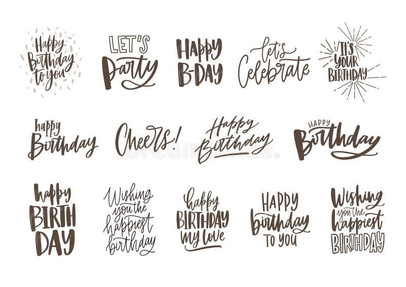 Colección de deseos monocromáticos del cumpleaños o las letras dibujadas mano adornadas con los elementos festivos - vaya de fies libre illustration