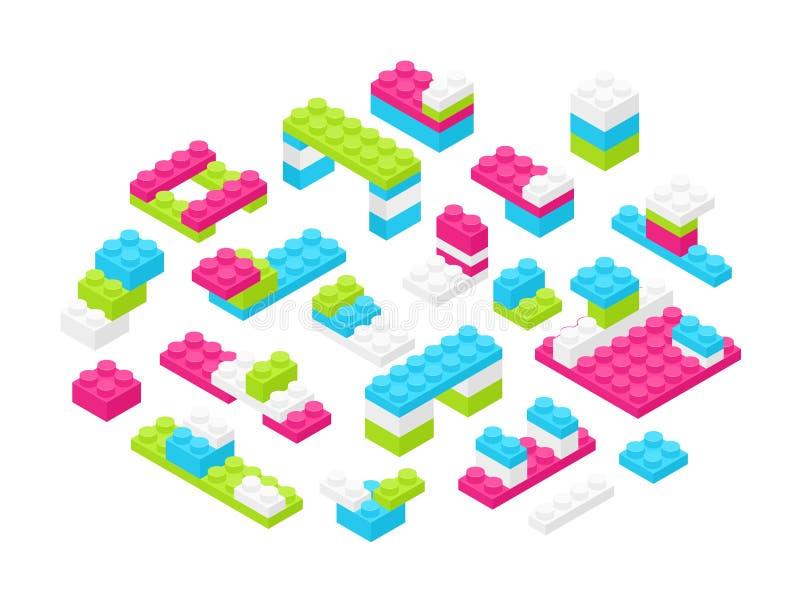 Colección de detalles o de pedazos plásticos coloridos isométricos del constructor aislados en el fondo blanco Juguete que entrel ilustración del vector