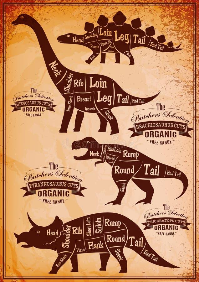 Colección de dinosaurios con su esquema del corte ilustración del vector