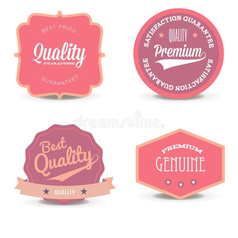 Colección de diseño elegante blanco del emblema del vector de la perla Sistema de sellos rosados del promo, de las etiquetas engo libre illustration