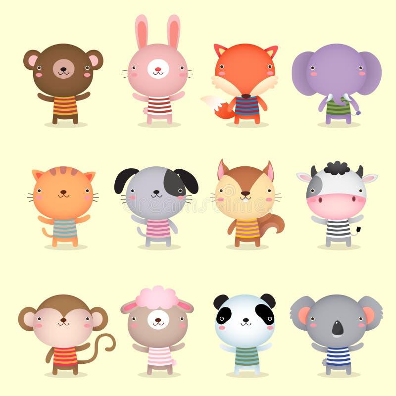 Colección de diseño lindo de los animales ilustración del vector