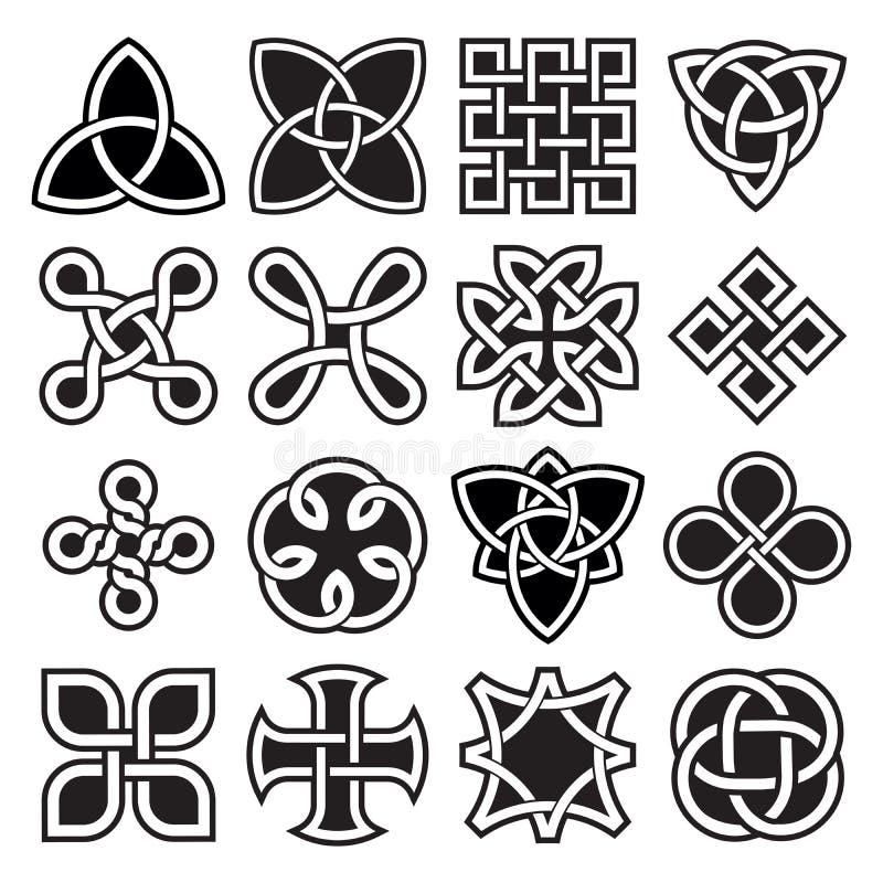 Colección de diseños célticos del nudo en formato del vector ilustración del vector