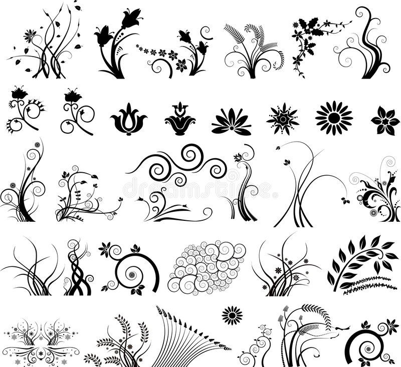 Colección de diseños florales imágenes de archivo libres de regalías