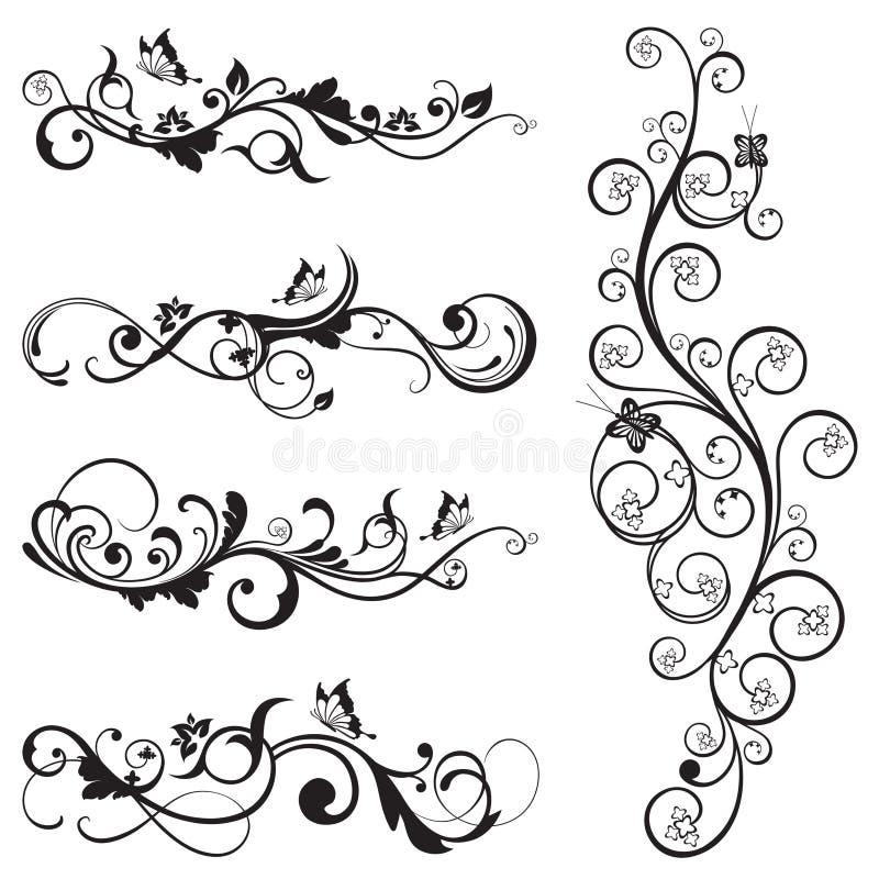 Colección de diseños florales de la silueta del vintage ilustración del vector