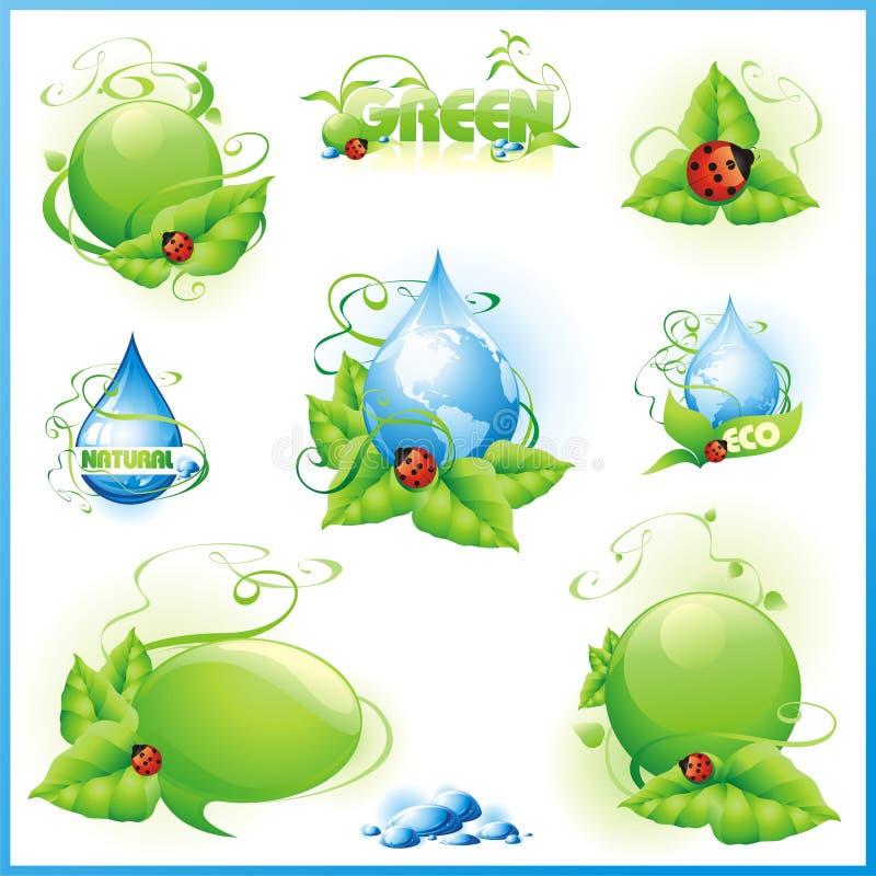 Colección de diseños verdes ilustración del vector