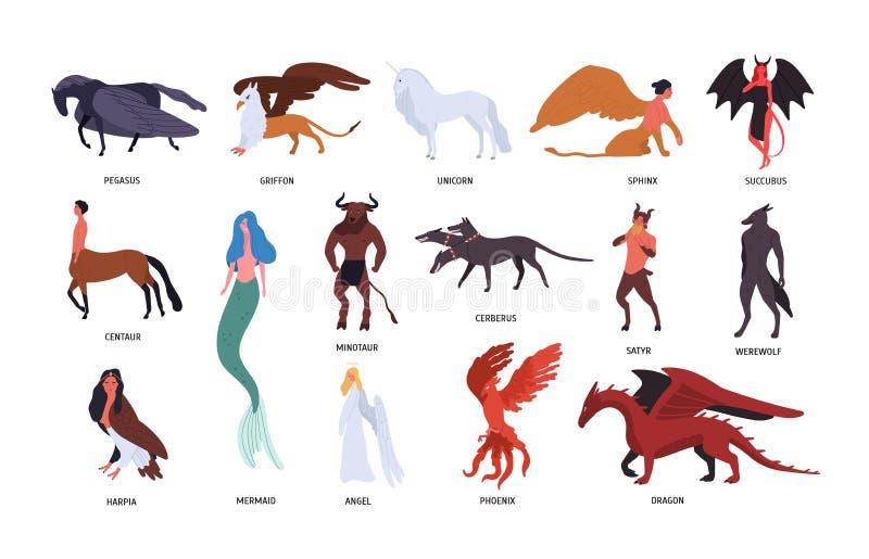 Colección de diversas criaturas míticas mágicas aisladas en el fondo blanco Paquete de personajes de dibujos animados planos y stock de ilustración