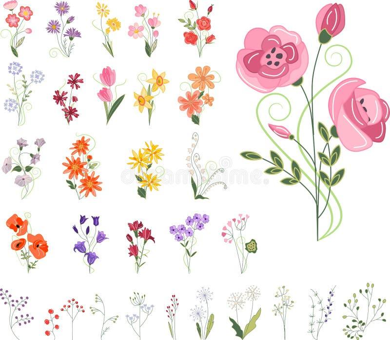 Colección de diversas flores estilizadas libre illustration
