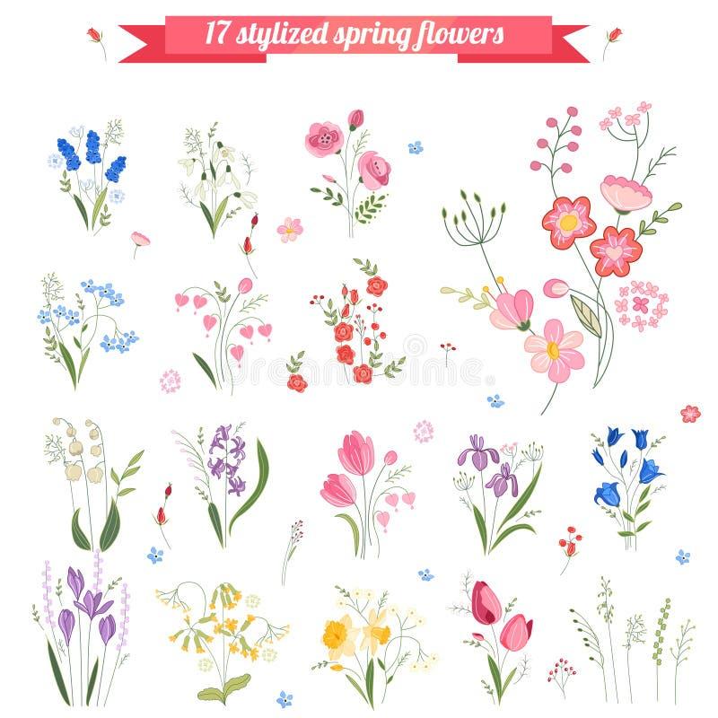 Colección de diversas flores estilizadas de la primavera libre illustration