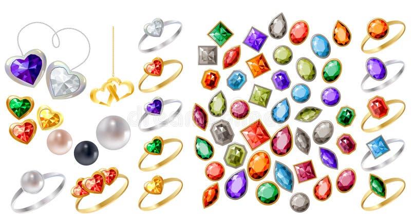 Colección de diversas joyas ilustración del vector