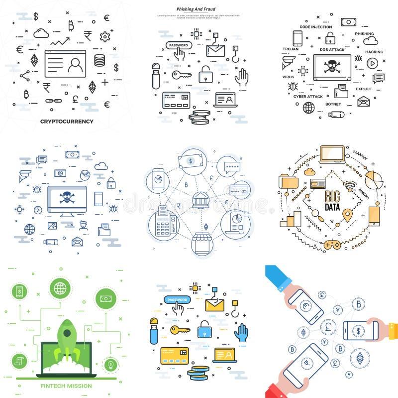 Colección de diverso Infographic como Cryptocurrency, datos grandes stock de ilustración