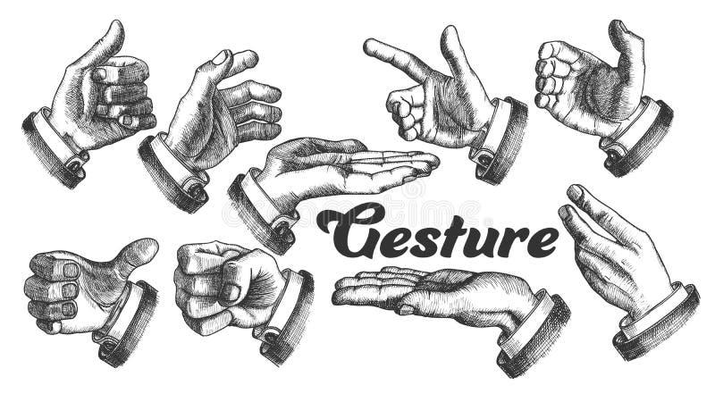 Colección de diverso vector del vintage del sistema del gesto libre illustration