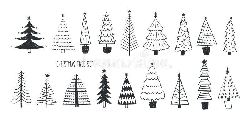 Colección de diversos abetos, pinos o piceas dibujados con las líneas de contorno Paquete de la Navidad conífera del bosque del i libre illustration