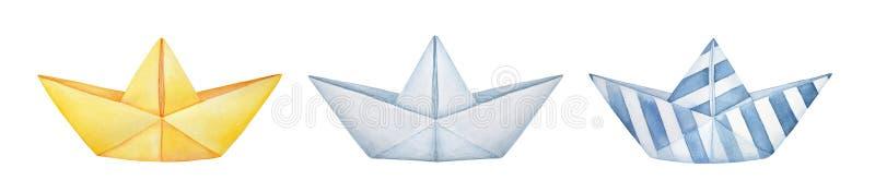 Colección de diversos barcos de papel doblados Azul blanco y rayado amarillo, clásico del espacio en blanco ilustración del vector