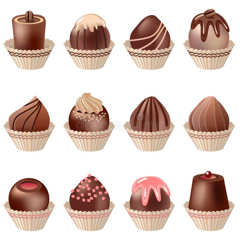 Colección de diversos dulces detallados realistas ilustración del vector