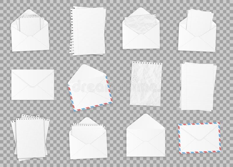 Colección de diversos Libros Blanco realistas Papel de diversos tipos, plantilla de la oficina del diseño Vector libre illustration