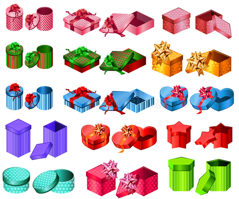 Colección de diversos rectángulos de regalo ilustración del vector