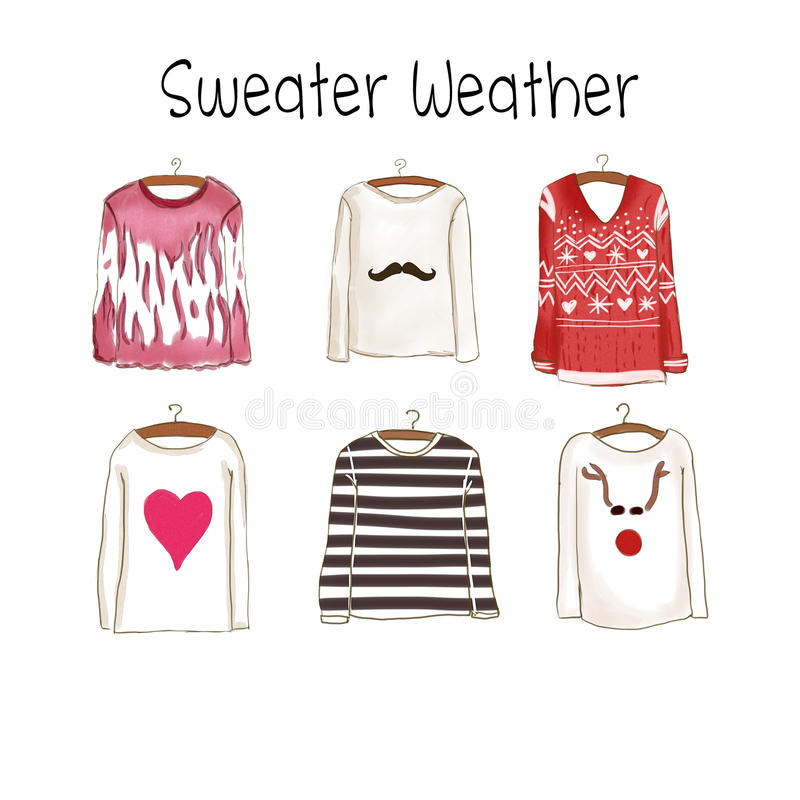 Colección de diversos suéteres ilustración del vector