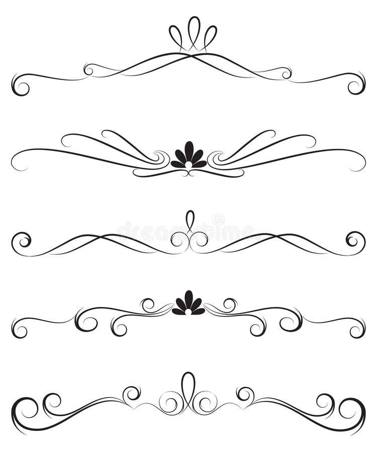 Colección de divisores adornados de la decoración ilustración del vector