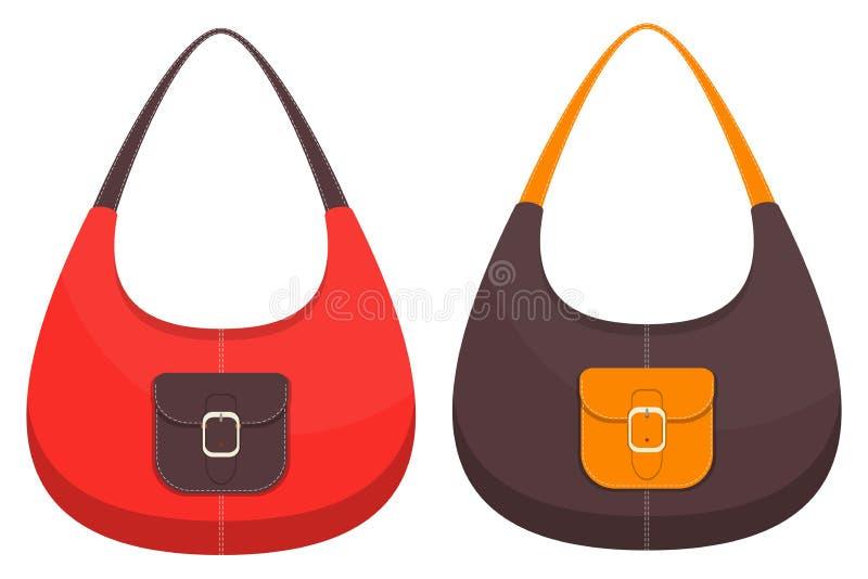 Colección de dos bolsos de cuero coloridos elegantes con los bolsillos y la costura blanca Bolso de la mujer Bolsos de las señora ilustración del vector