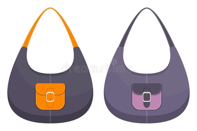 Colección de dos bolsos de cuero coloridos elegantes con los bolsillos y la costura blanca Bolso de la mujer Bolsos de las señora stock de ilustración