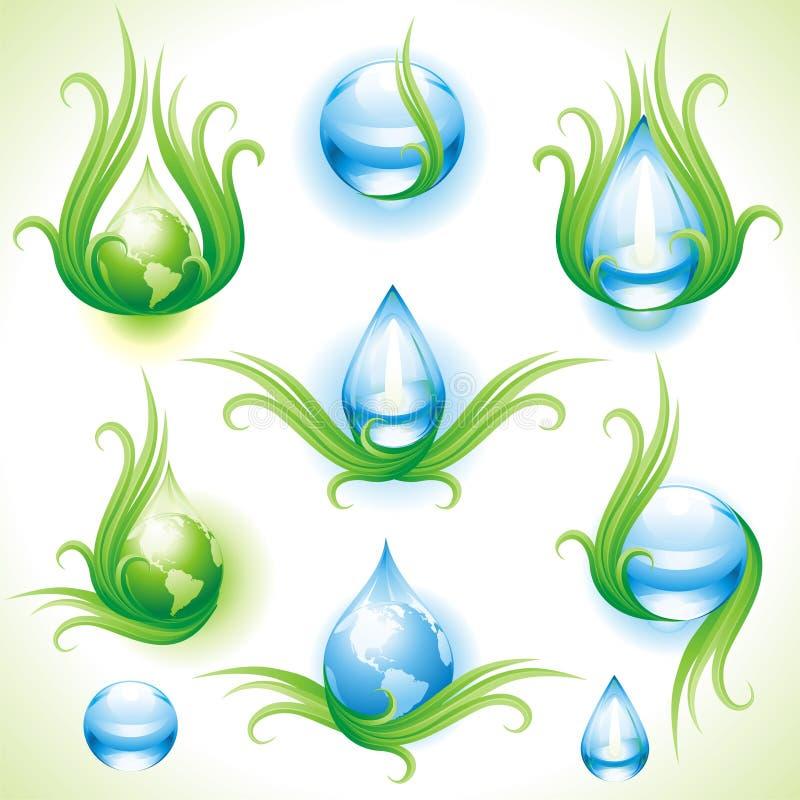 Colección de eco-iconos. stock de ilustración
