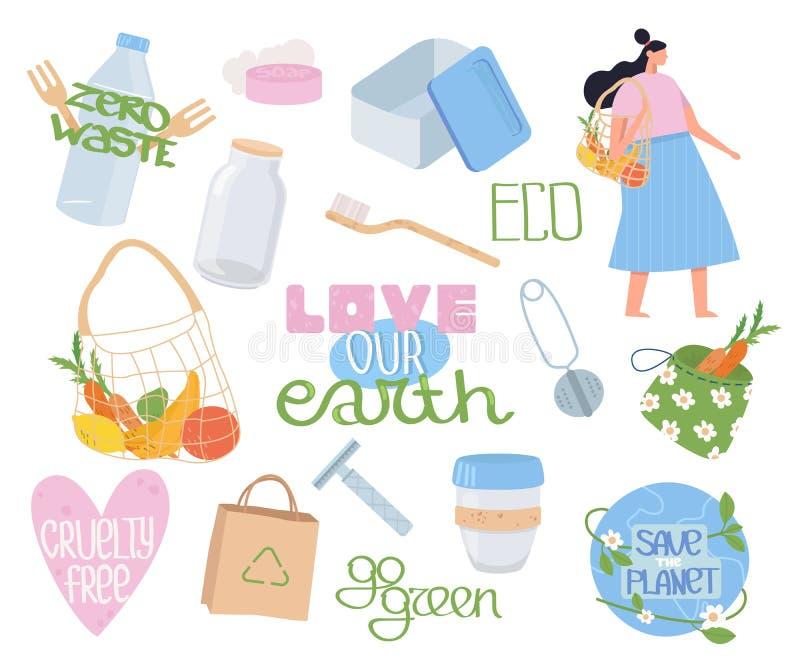 Colección de ecología, objetos de basura cero, letras y personas. Establecer artículos o productos reutilizables. Sin plástico libre illustration